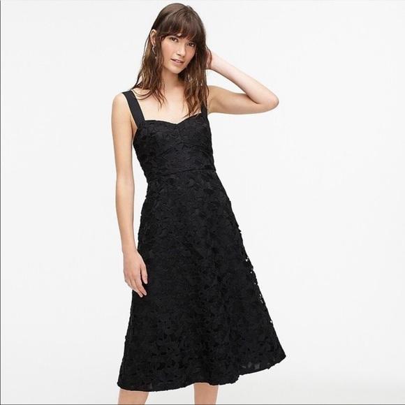 J. Crew Sleeveless Sweetheart Midi Dress Black NWT